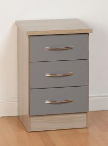 Nevada Grey 3 Drawer Bedside