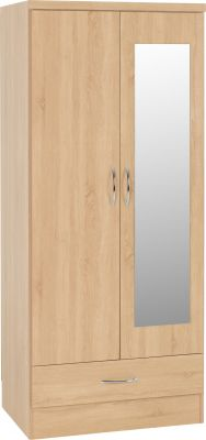 Nevada Sonama Oak 2 Door 1 Drawer Wardrobe With Mirror