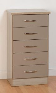 Nevada Oyster 5 Drawer Narrow Chest