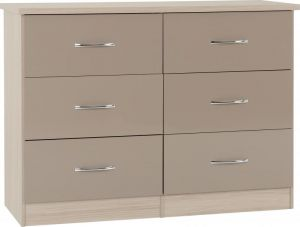 Nevada Oyster 3+3 Drawer Wide Chest