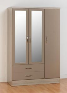 Nevada Oyster 3 Door 2 Drawer Mirrored Wardrobe