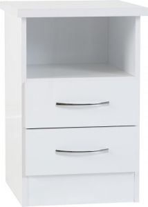 Nevada White 2 Drawer Bedside