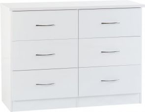 Nevada White 3+3 Drawer Wide Chest