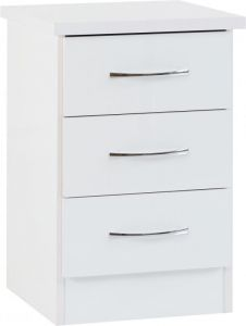 Nevada White 3 Drawer Bedside