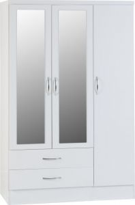 Nevada White 3 Door 2 Drawer Mirrored Wardrobe