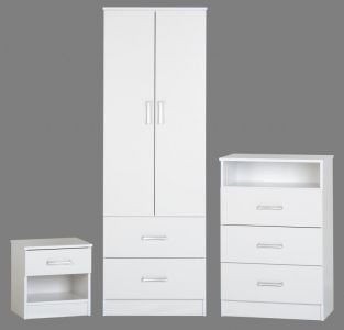 Polar White 2 Door Robe, 3 drawer chest, 1 drw bedside package offer.