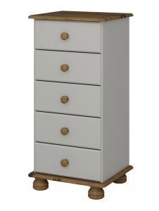 Richmond Grey 5 drawer narrow chest