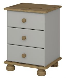 Richmond Grey 3 drawer bedside cabinet