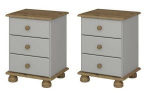 Two Richmond Grey 3 drawer bedsides (Pair)