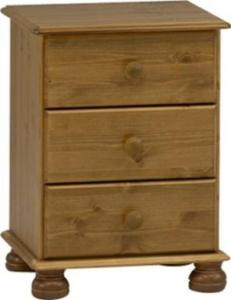 Pine Furniture Hampton 3 Drawer Bedside Cabinet Richmond Pine