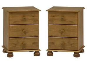 Two Richmond Pine 3 drawer bedsides (Pair)