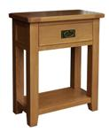 Rustic Oak small console table with drawer