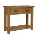 Rustic Oak large console table with 2 drawers