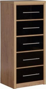 Seville High Gloss 5 Drawer Narrow Chest