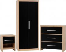 Seville High Gloss  2 Door Robe, 3 chest, 1 drw bedside package offer.
