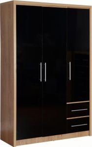 Seville High Gloss 3 Door 2 Drawer Wardrobe