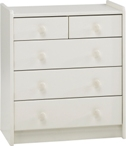 Kids 2+3 drawer chest, white mdf.