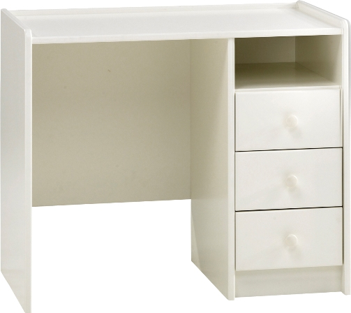 Kids 3 drawer desk, white mdf.