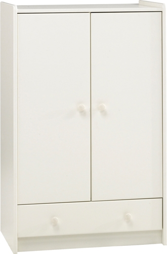 Kids 2 door 1 drawer low robe, white mdf.