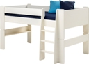 Kids mid sleeper bed, white mdf.