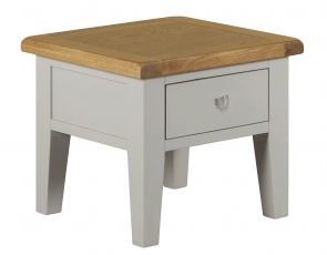 Toronto Oak and Painted Lamp Table With Drawer